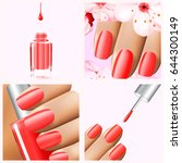 colorful red collection of nail ... | Shutterstock .eps vector #644300149