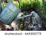 large iron watering can ... | Shutterstock . vector #644300779