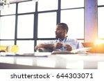 pensive handsome afro american... | Shutterstock . vector #644303071