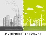 the concept of a polluted city... | Shutterstock .eps vector #644306344