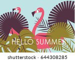 tropical flowers background.... | Shutterstock .eps vector #644308285