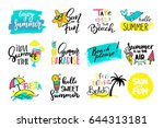 colorful cute hand drawn summer ... | Shutterstock .eps vector #644313181