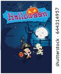 halloween vector illustration... | Shutterstock .eps vector #644314957