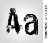grunge tire letter a. unique... | Shutterstock .eps vector #644316121