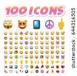 set of 100 cute icons on white... | Shutterstock .eps vector #644316505