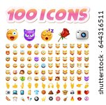 set of 100 cute icons on white... | Shutterstock .eps vector #644316511
