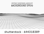 wireframe landscape background. ... | Shutterstock .eps vector #644318389
