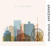 transparent style. stuttgart... | Shutterstock .eps vector #644326969