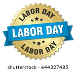 labor day round isolated gold... | Shutterstock .eps vector #644327485