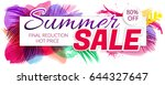 summer sale poster with... | Shutterstock .eps vector #644327647