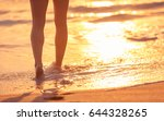 closeup of woman's feet walking ... | Shutterstock . vector #644328265