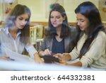 teamwork of female designers... | Shutterstock . vector #644332381