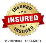 insured round isolated gold... | Shutterstock .eps vector #644332645