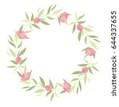 wreath with grass and flowers | Shutterstock .eps vector #644337655