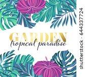 tropical garden poster design ... | Shutterstock .eps vector #644337724