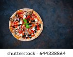 hot testy pizza with tomatoes ... | Shutterstock . vector #644338864