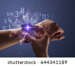 close up female naked hand... | Shutterstock . vector #644341189