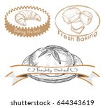 set of labels for the baked...   Shutterstock .eps vector #644343619