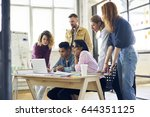 crew of marketing experts... | Shutterstock . vector #644351125