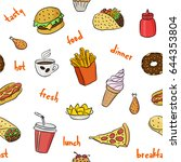 pattern with fast food hand... | Shutterstock .eps vector #644353804