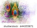 eid mubarak greeting   islamic... | Shutterstock . vector #644355871