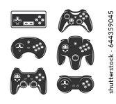 retro video games joystick set. ... | Shutterstock .eps vector #644359045