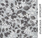 seamless  grey abstract floral  ... | Shutterstock .eps vector #644361649