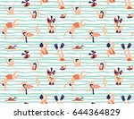 Summer seamless pattern. People swimming in the sea. Vector illustration with swimmers. | Shutterstock vector #644364829