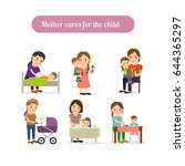 mother cares for the child... | Shutterstock . vector #644365297
