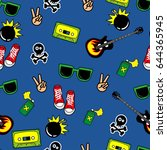 cute kids pattern for girls and ... | Shutterstock .eps vector #644365945