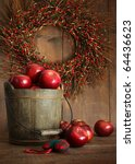 Wooden Bucket Of Apples For Th...