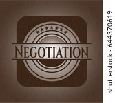 negotiation badge with wood... | Shutterstock .eps vector #644370619
