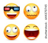 smiley with 3d glasses smiling... | Shutterstock .eps vector #644370745