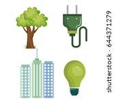 eco friendly objects set | Shutterstock .eps vector #644371279