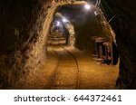 mining tunnel with lights and... | Shutterstock . vector #644372461