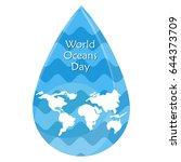 world map in blue wave drop.... | Shutterstock .eps vector #644373709