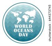 world oceans day concept poster ... | Shutterstock .eps vector #644373745