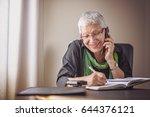 happy senior old business woman ... | Shutterstock . vector #644376121