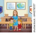 teacher and school kids.  | Shutterstock .eps vector #644378557