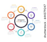 six multicolored round elements ... | Shutterstock .eps vector #644379247