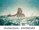 happy child playing in the sea. ... | Shutterstock . vector #644382685
