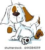 cute spotty dog cartoon   black ... | Shutterstock .eps vector #644384059