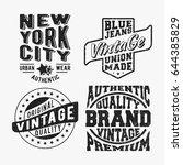 t shirt print design. set of... | Shutterstock .eps vector #644385829