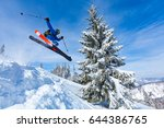 good skiing in the snowy... | Shutterstock . vector #644386765