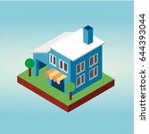 isometric house icon. townhouse.... | Shutterstock .eps vector #644393044