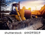 yellow bulldozer with... | Shutterstock . vector #644395819