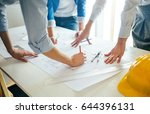 architect team working together.... | Shutterstock . vector #644396131