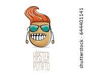 vector funny cartoon cute brown ... | Shutterstock .eps vector #644401141