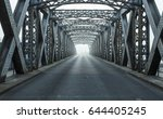 old metal bridge on a foggy day ... | Shutterstock . vector #644405245