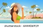 Woman Over Tropical Beach ...